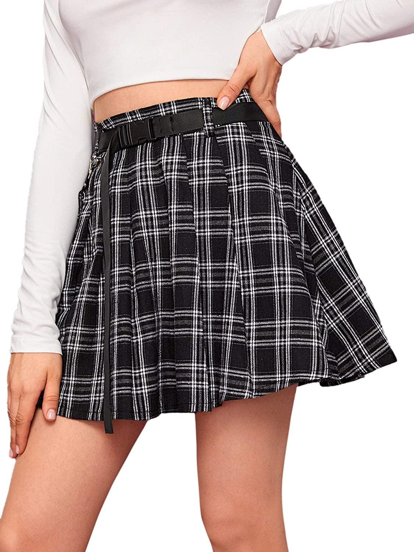 MakeMeChic Women's Plaid Print Side Pocket High Waist A Line Flared Mini Skirt