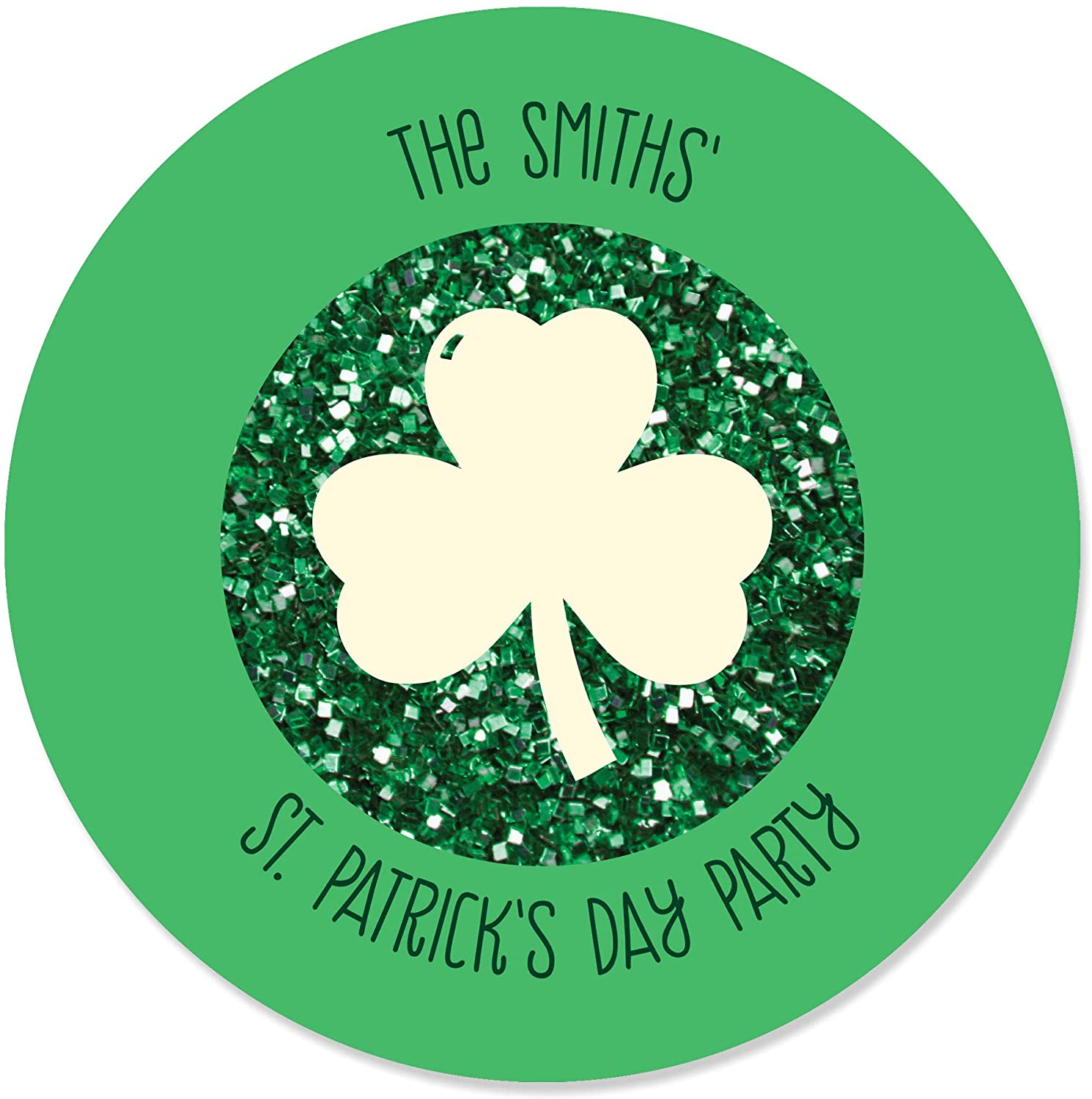 Big Dot of Happiness Personalized St. Patrick's Day - Custom Saint Patty's Day Party Favor Circle Sticker Labels - Custom Text - 24 Count