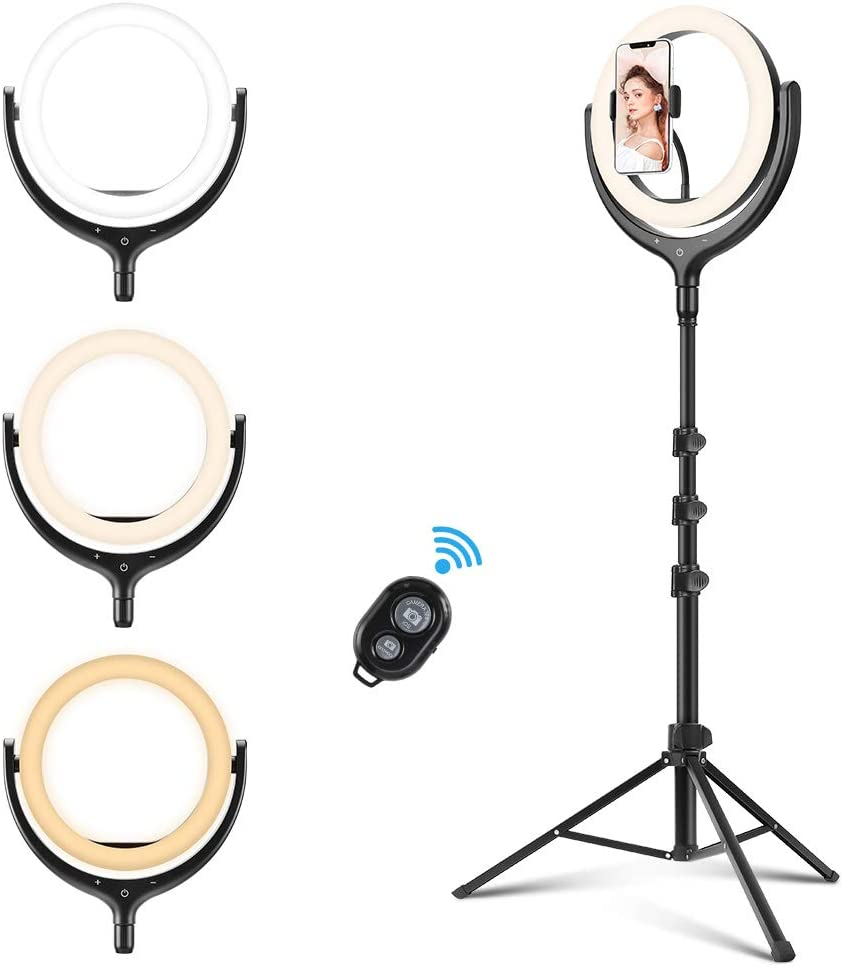 12 Ring Light, REKY Selfie Ring Light with Tripod Stand & Phone Holder, 1.7M 3 Color Lights/10 Levels Brightness Dimmable Led Tripod Light for Live Steam/Video/Makeup/Vlog/TikTok for iPhone & Android