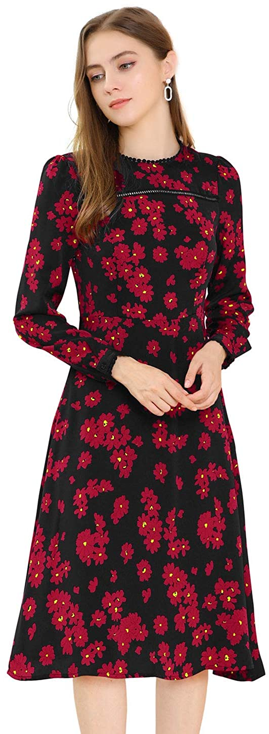 Allegra K Womens Ruffle Floral Print Lace Trim Round Neck Elegant Puff Sleeve Mini Dress