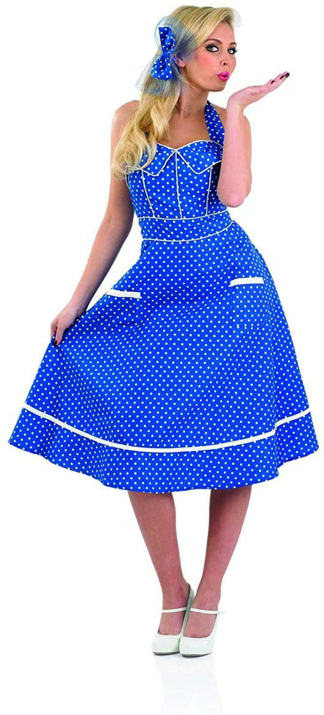 Womens 50s Blue Dress Adults Decades Party Polka Dot 1950s Outfit