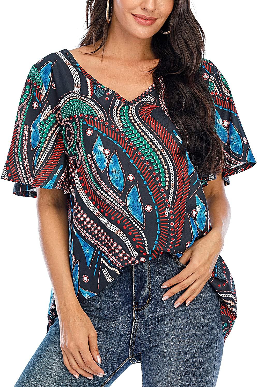 BABEIYXM Women's V Neck Chiffon Blouses Casaul Batwing Sleeve Floral Print Tops Cute Loose Shirts