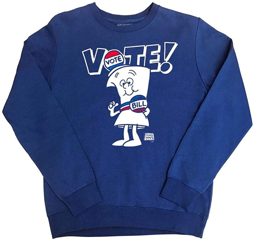 Ripple Junction Schoolhouse Rock Adult Unisex Vote with Bill Fleece Crew Sweatshirt