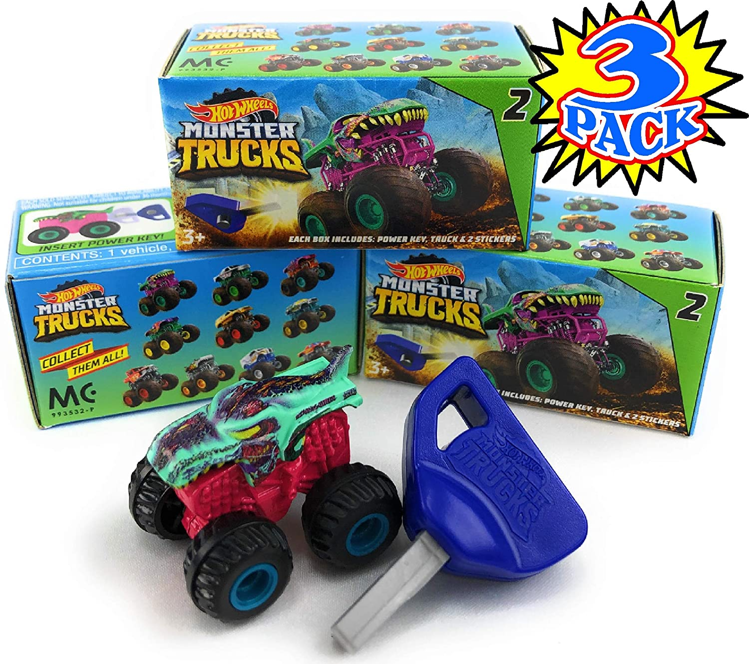 Hot Wheels Monster Trucks Mini Mystery Trucks with Key Launcher (Assorted Series) Blind Box Gift Set Party Bundle - 3 Pack