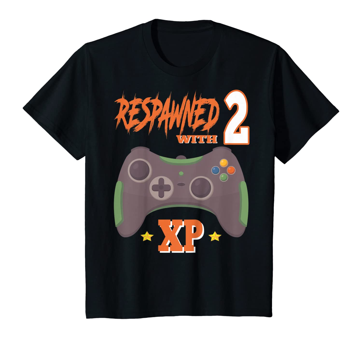 Kids Respawned With 2 XP Video Gamer 2nd Birthday Gifts Boy T-Shirt