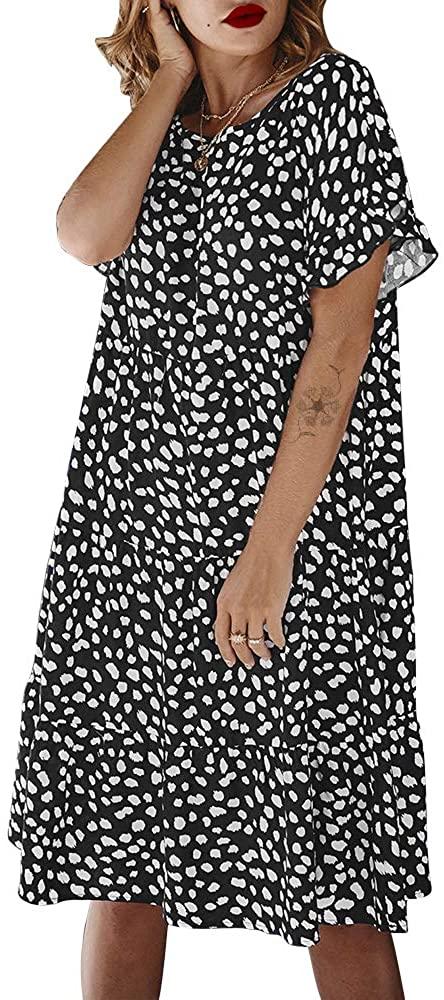 Exlura Womens Summer Polka Dots Dress Ruffle Short Sleeves Loose Fit Casual Dress