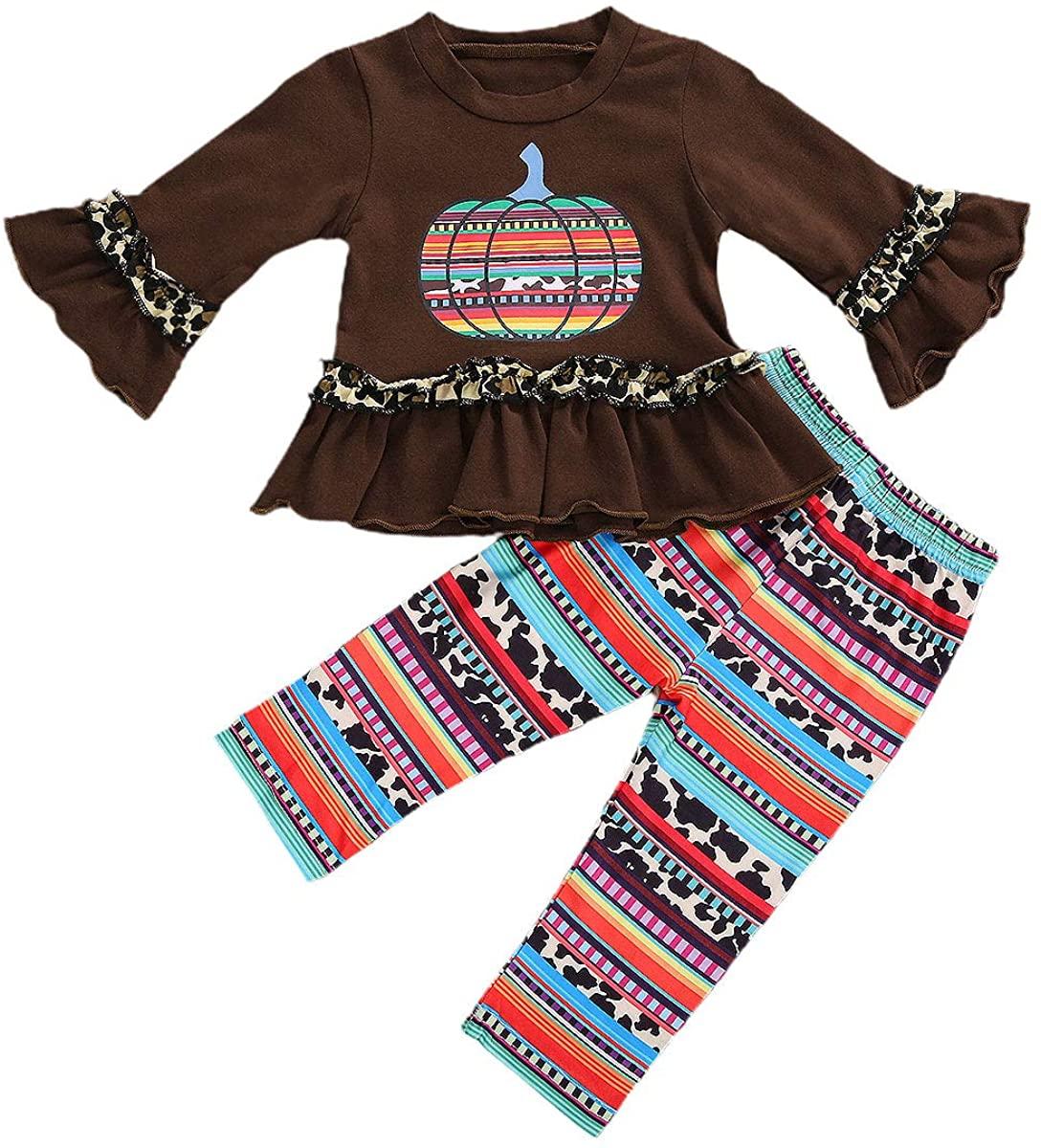 Toddler Girl Halloween Clothes Long Sleeve Ruffle T-Shirt Top Pumpkin Pants Set Halloween Outfit 2Pcs