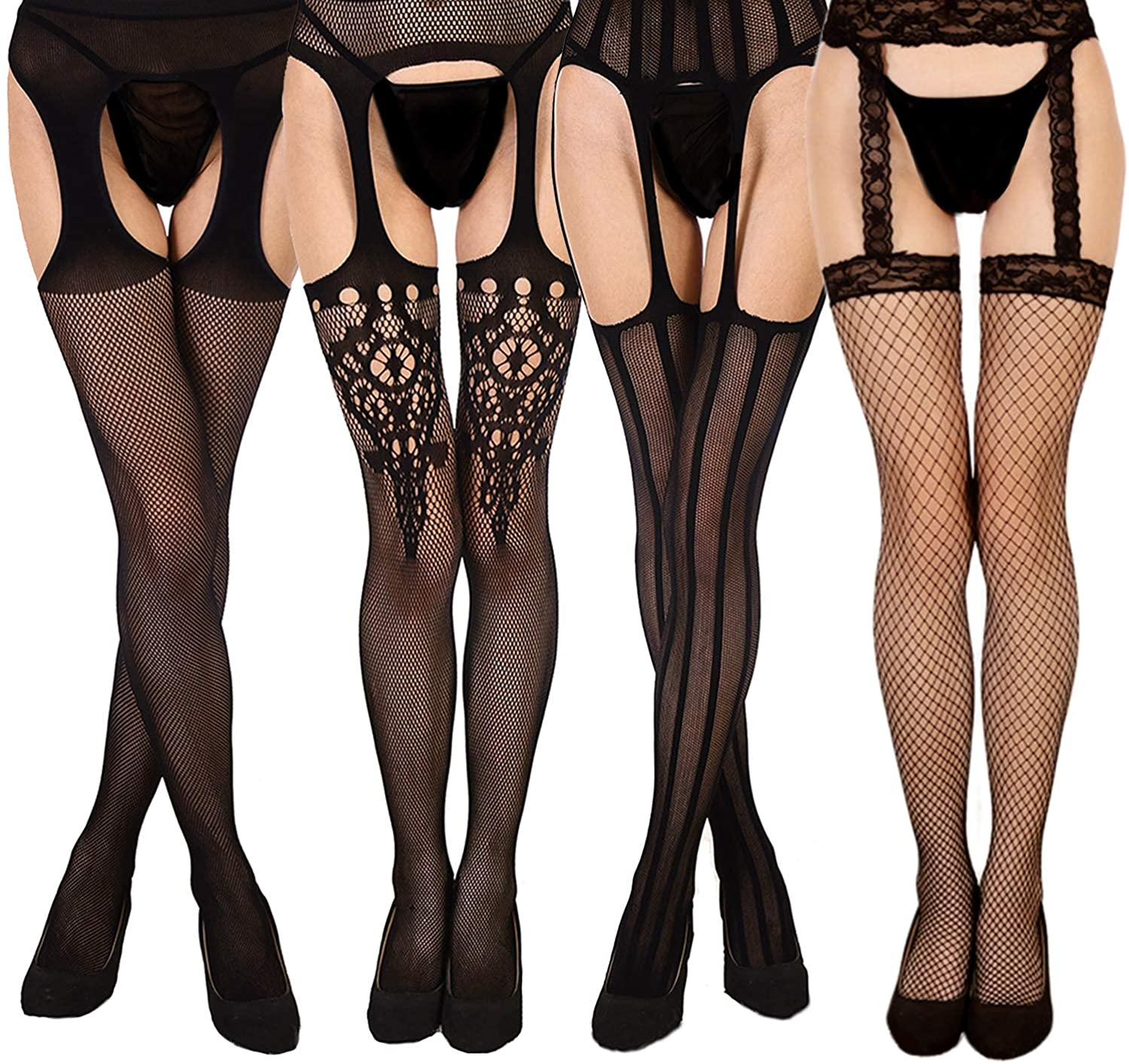5 Pairs Womens Fishnet Tights Thigh High Fishnet Stockings Suspender Pantyhose