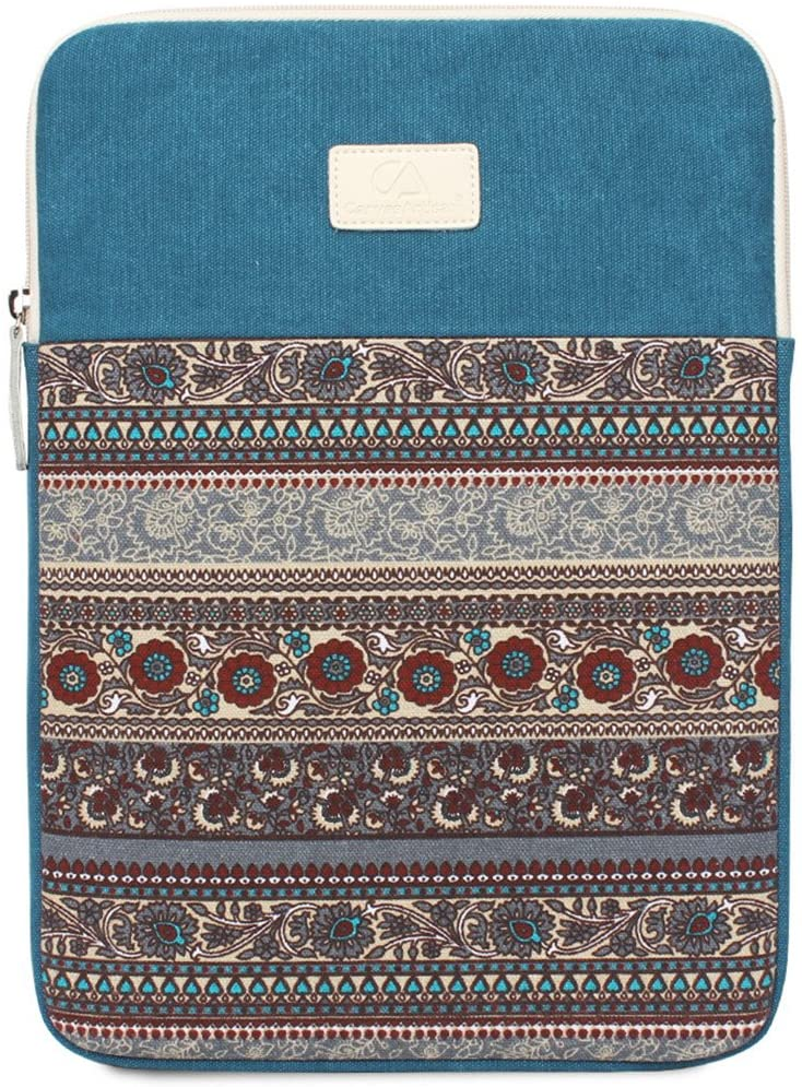 15.6 Inch Laptop Sleeve 15 Inch Bohemian Canvas Protective Notebook Bag Computer Case Cover for MacBook Pro MacBook Air Chromebook Acer Dell HP Samsung Sony (Vertical, Blue)
