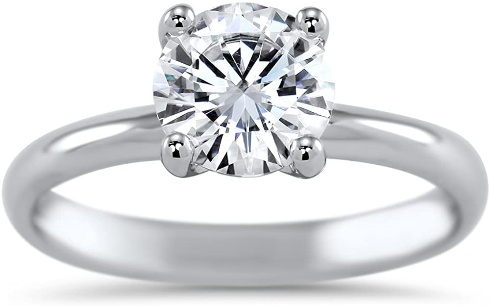 Art of Fine Charles and Colvard Forever One Colorless Moissanite (DEF) VVS1 (1.2ct Dew) 7.0mm 14K White Gold Four Prong Wire Solitaire Engagement Ring