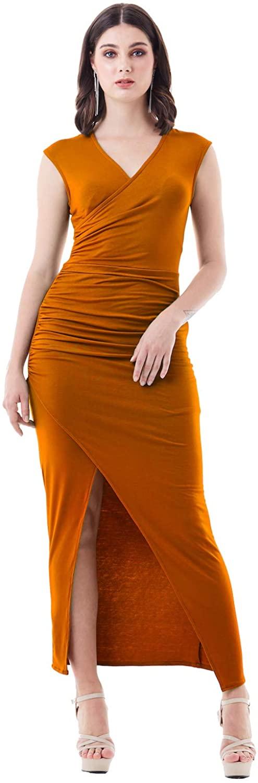 Viris Zamara Womens Semi Formal Sleeveless V-Neck Sexy High Slit Maxi Dress