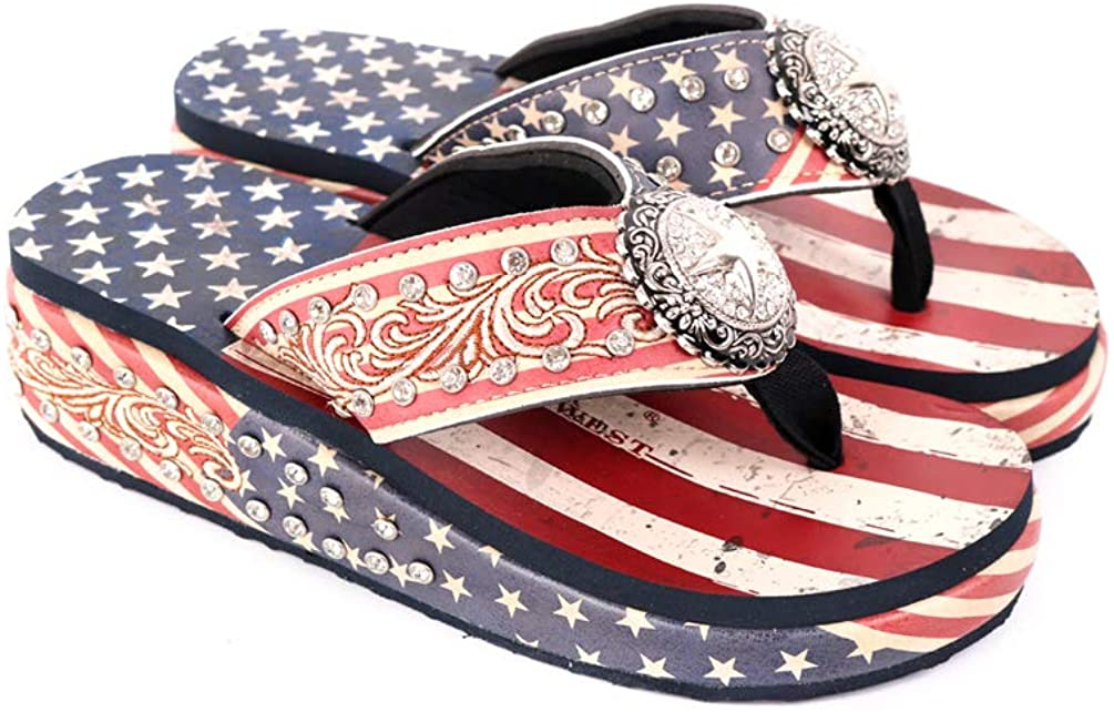Montana West Flip Flops for Women Aztec Concho Patriotic Wedges Slipper Shoes Comfort Wedge Sandals