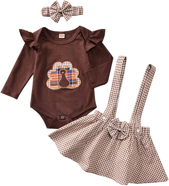 Baby Girl Shirt Set 1st Thanksgiving Outfit Ruffle Sleeve Turky Romper+Plaid Suspender Skirt+Headband Clothes Set