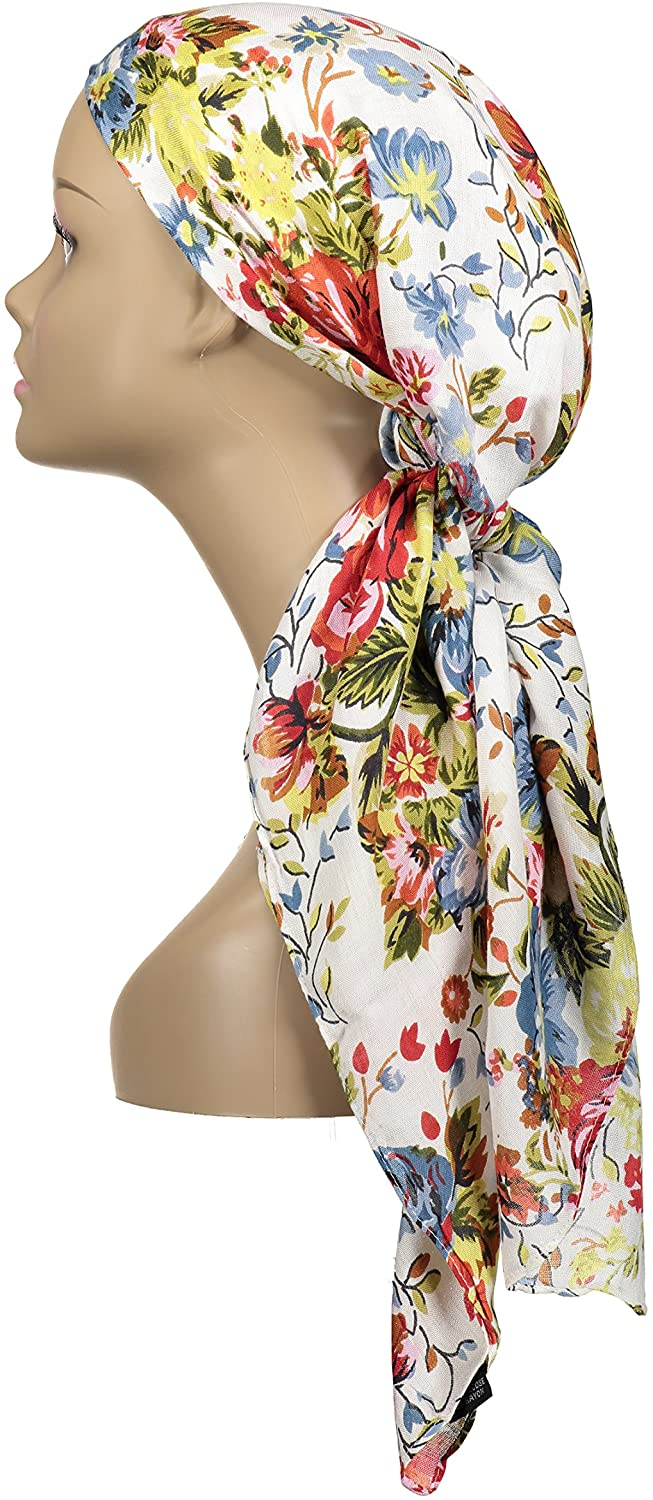 Atara Large Head Wrap Scarf -Soft Lightweight Easy Tie Square Chemo Scarves