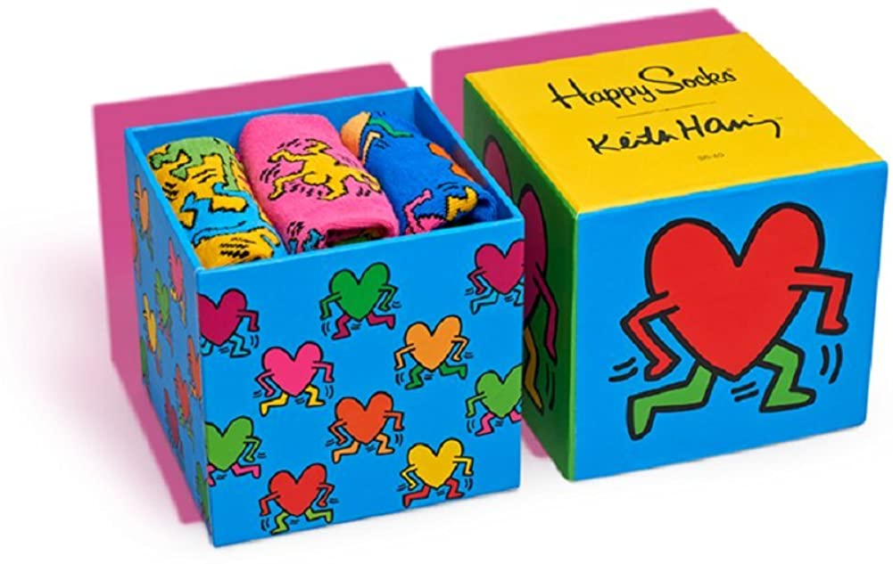 Happy Socks, Colorful Premium Cotton Gift Box 3 Pack Socks for Men and Women, Keith Haring, 9-11