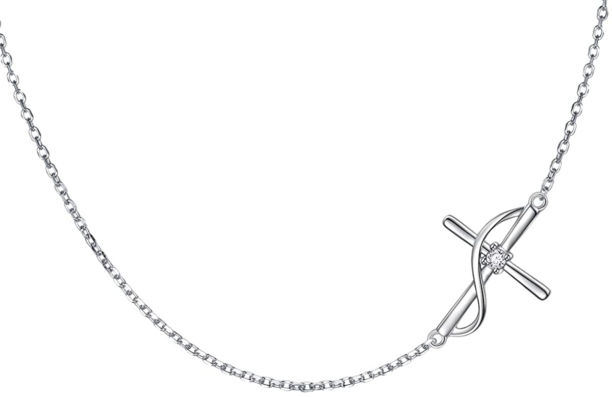 ATHENAA S925 Sterling Silver Concise Sideways Cross Pendant Necklace Bracelet Anklet