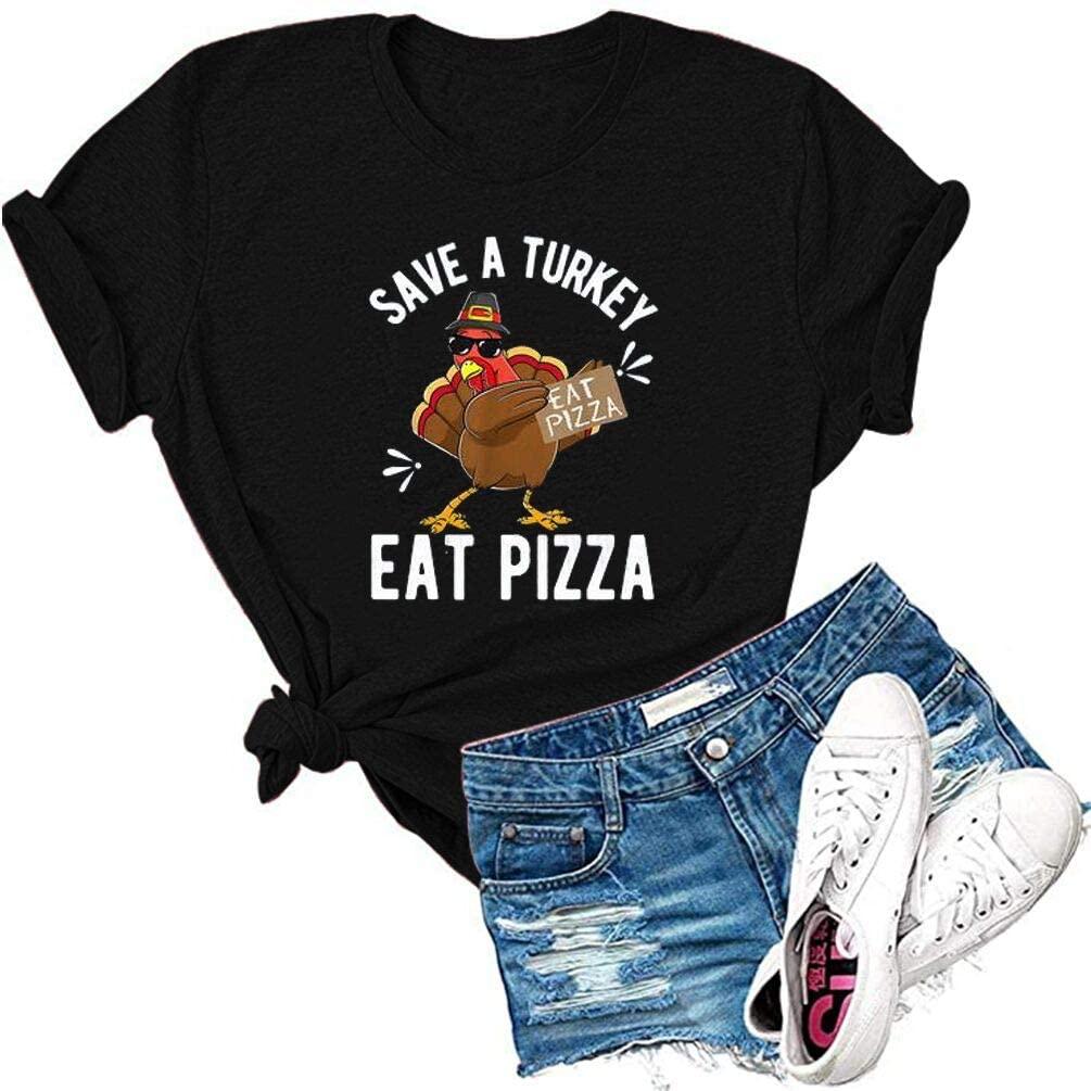 HDLTE Thanksgiving Tshirt Women Funny Turkey Graphic Tee Causal Thankful Short Sleeve Tops