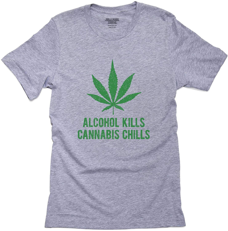 Alcohol Kills Cannabis Chills Marijuana Pot Weed Support Mens T-Shirt