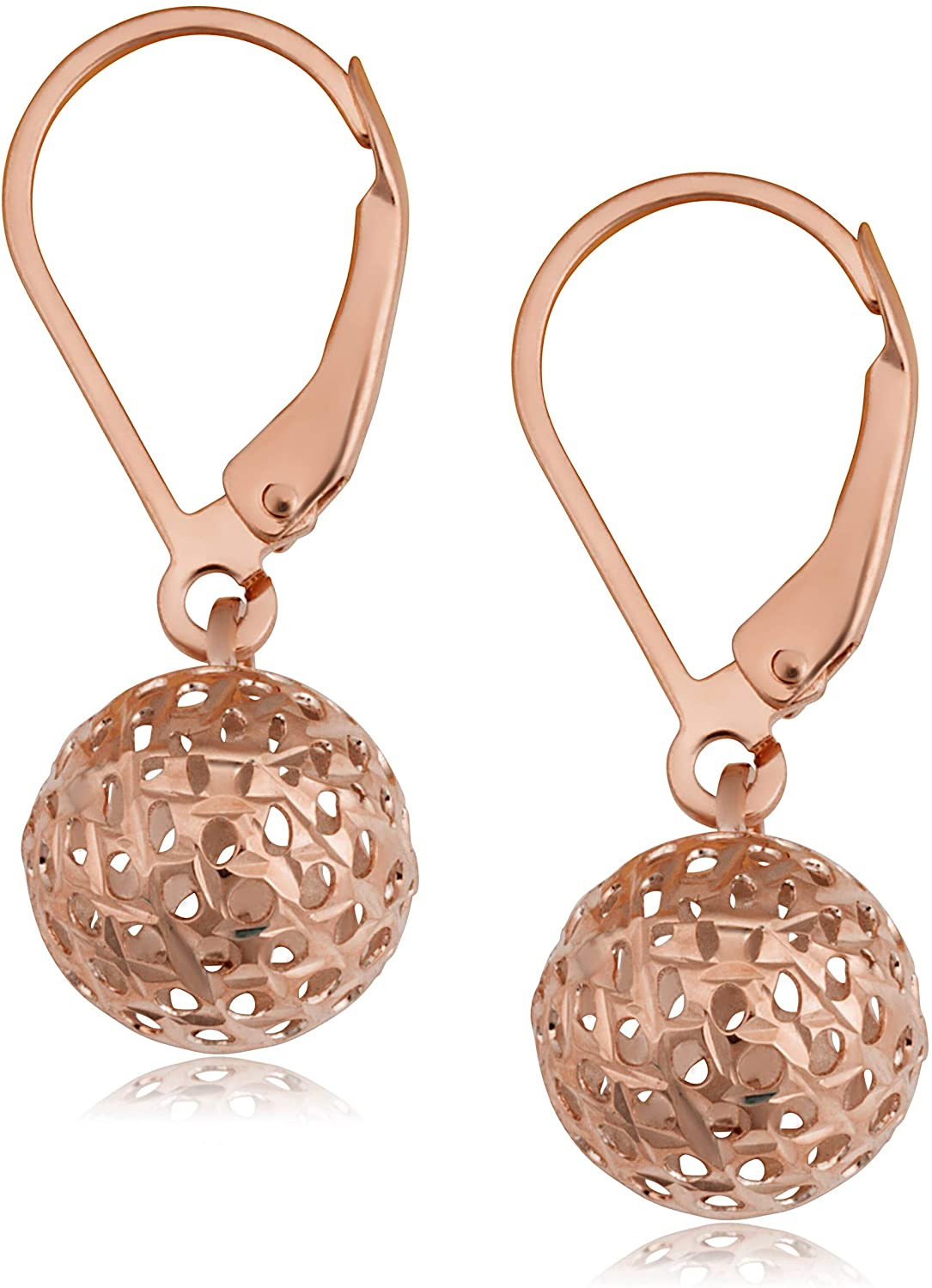 KoolJewelry Real 10k Yellow Gold White Gold or Rose Gold Filigree Ball Earrings Minimalist Jewelry for Women