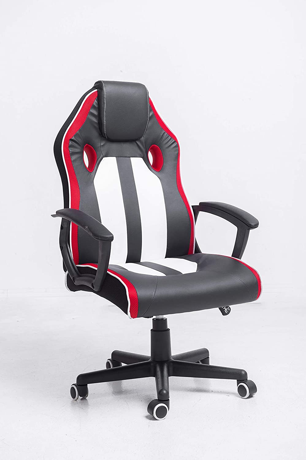 Ergonomic Gaming Chair with Adjustable Height and Lumbar Support Black, Red and White