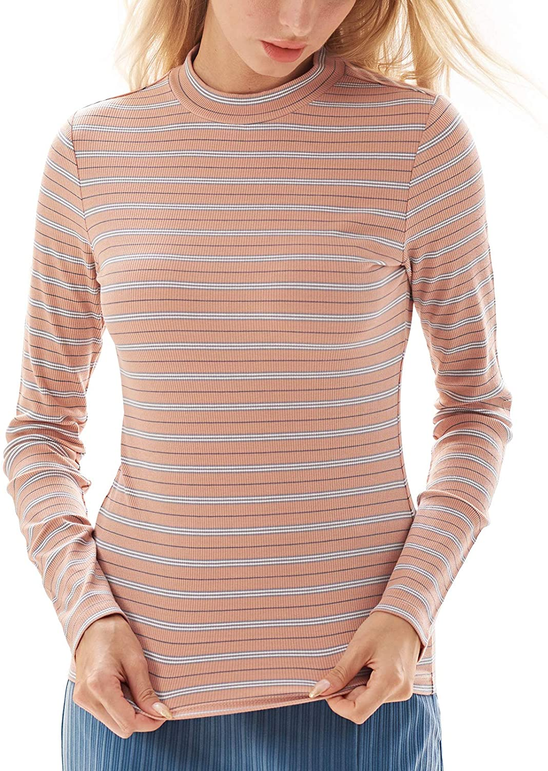 Mock Neck Tops for Women Striped Long Sleeve Shirts