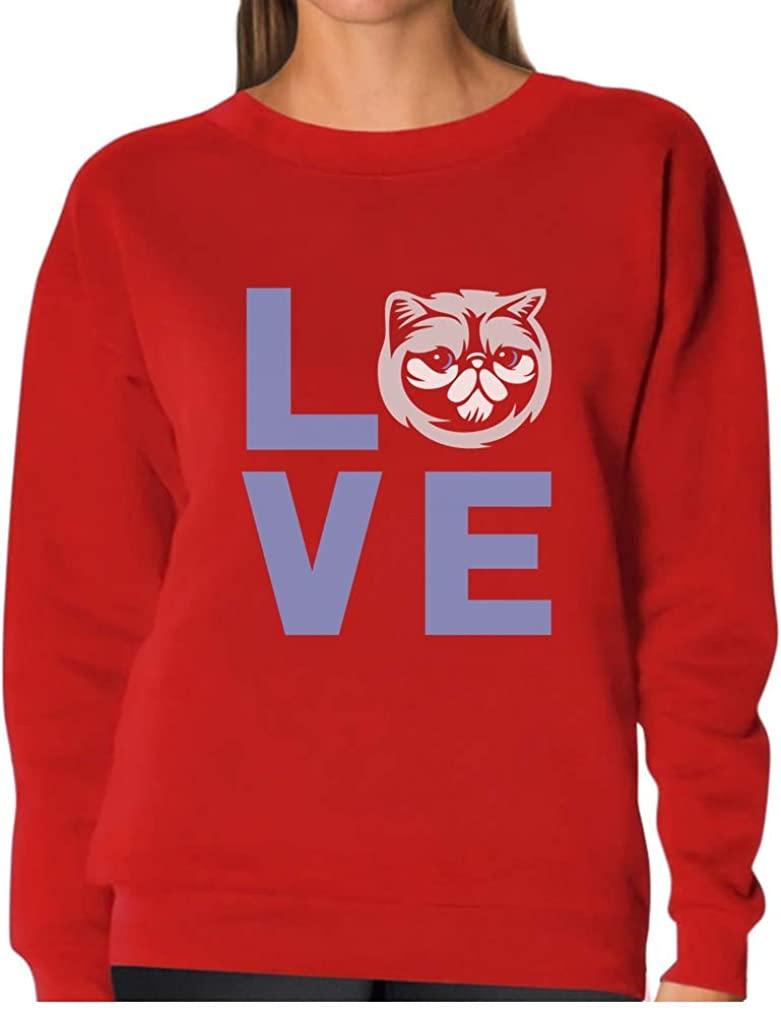 TeeStars - Animal Lover - Love Cats Best Gift for Cat Lovers Women Sweatshirt X-Large Red