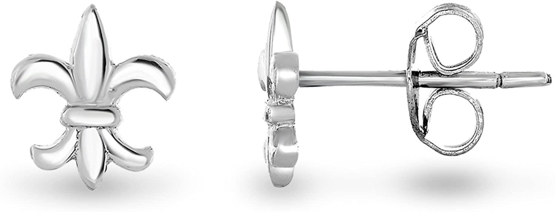 Spoil Cupid 14K Gold Plated 925 Sterling Silver Mini Fleur De Lis Lily Flower Stud Earrings