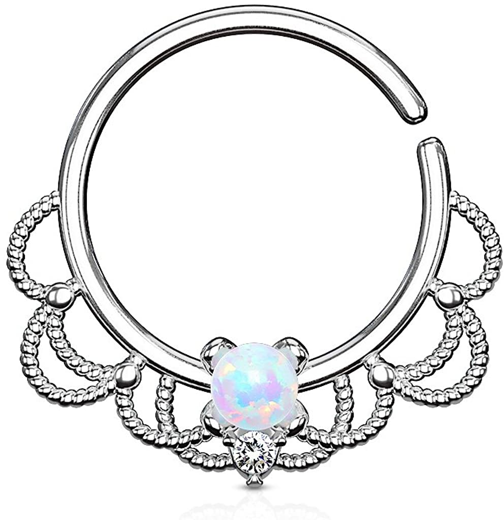 FIFTH CUE 16G Opal Set Centered Filigree Bendable Hoop Rings for Nose Septum, Daith and Ear Cartilage