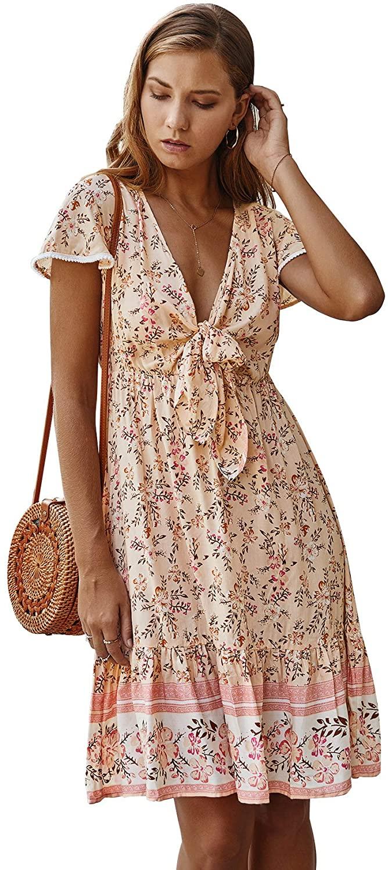 FEMI SEMI Womens Short Sleeve Floral Print Sexy Summer Dress Front Tie V Neck Ruffle High Waist Swing Beach Dress