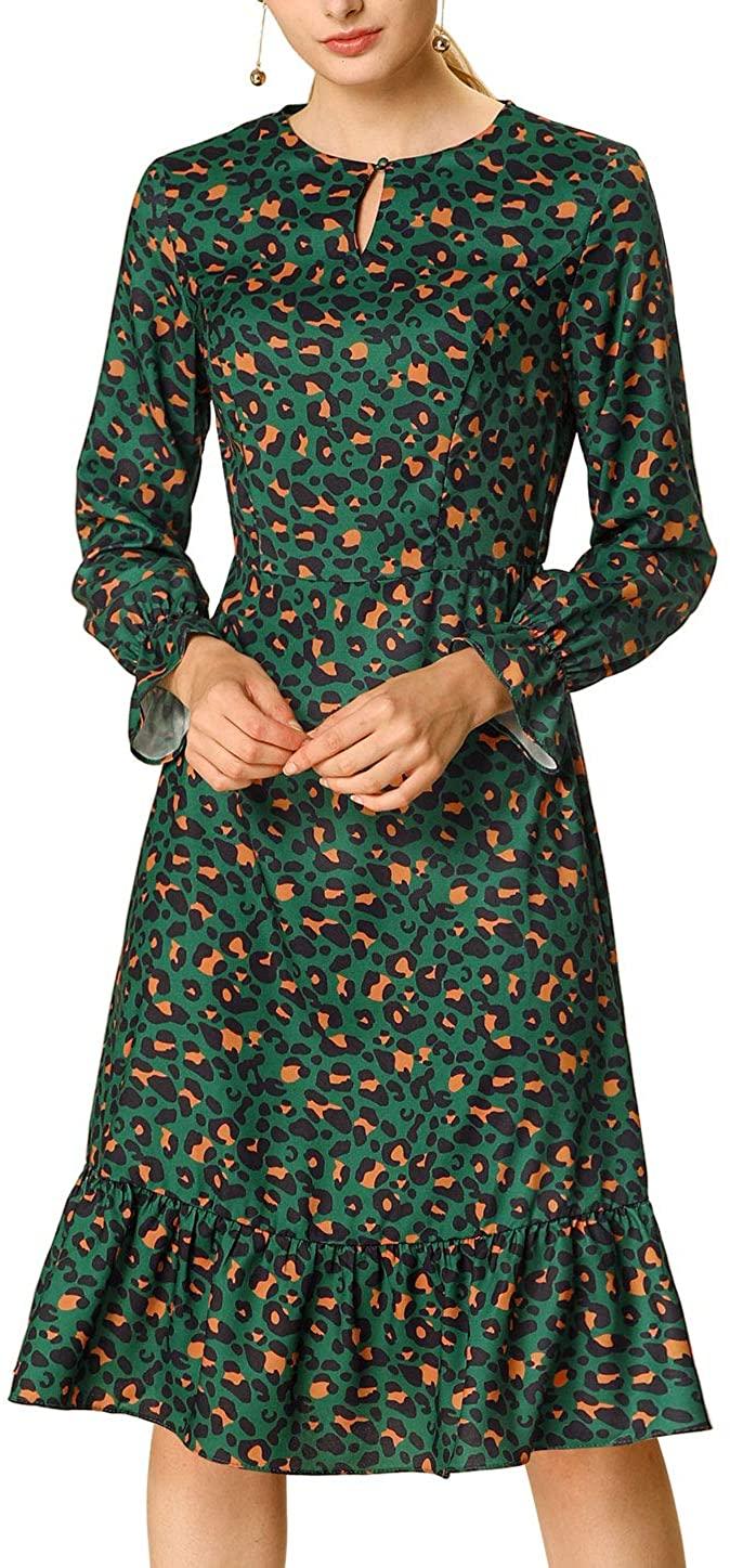 Allegra K Women's Spring Leopard Dresses Elegant Long Sleeve Keyhole Neck Ruffle Dress