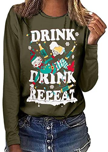 GoodLock(TM) Christmas Tree Print Tee for Women Casual Long Sleeve Round Neck Sweatshirt Pullover Blouse Solid Color T Shirt