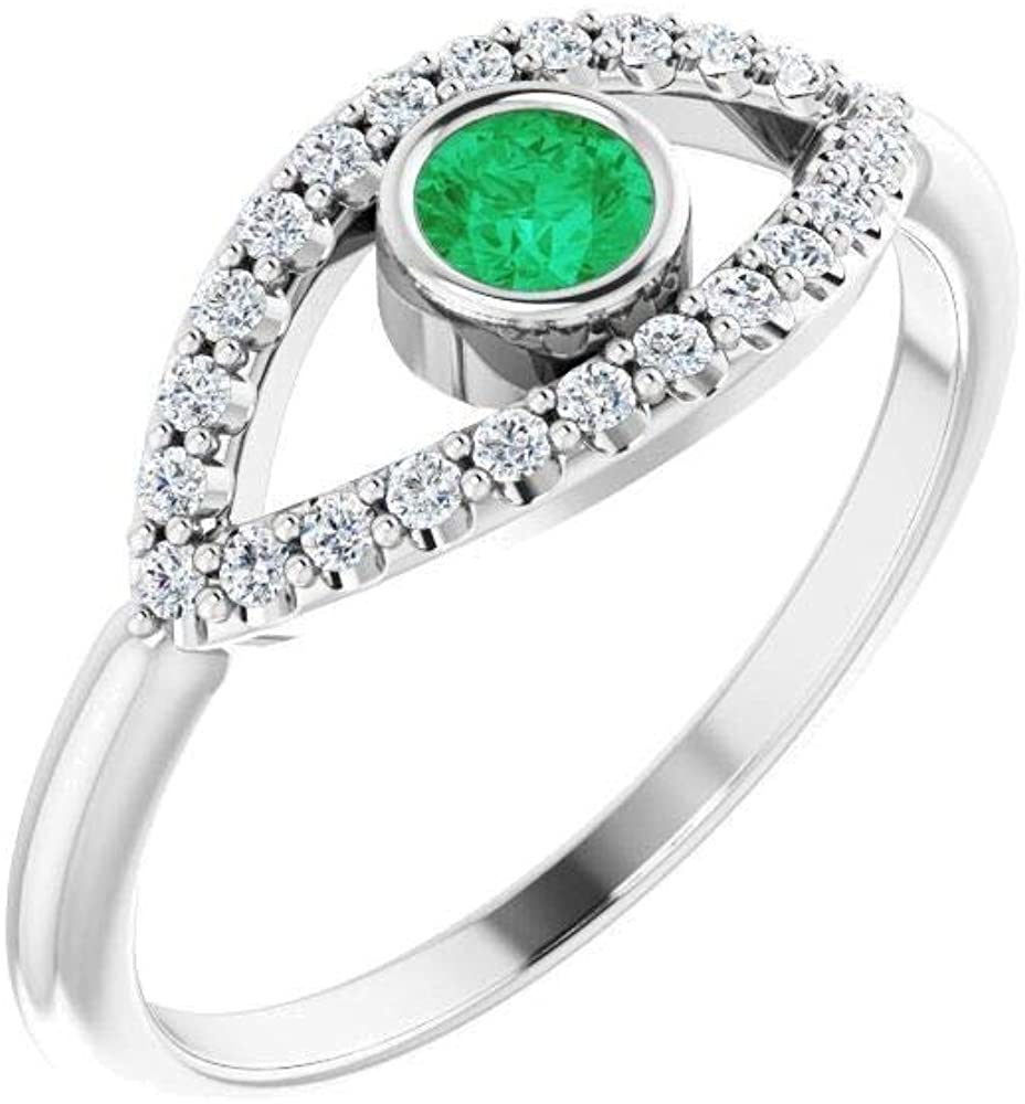 Bonyak Jewelry 14k White Gold Emerald & White Sapphire Evil Eye Ring - Size 7