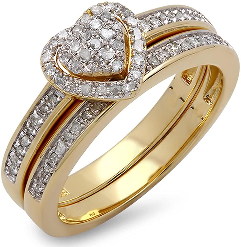 Dazzlingrock Collection 0.23 Carat (ctw) 14K Gold Round White Diamond Ladies Heart Shaped Bridal Engagement Ring Set 1/4 CT