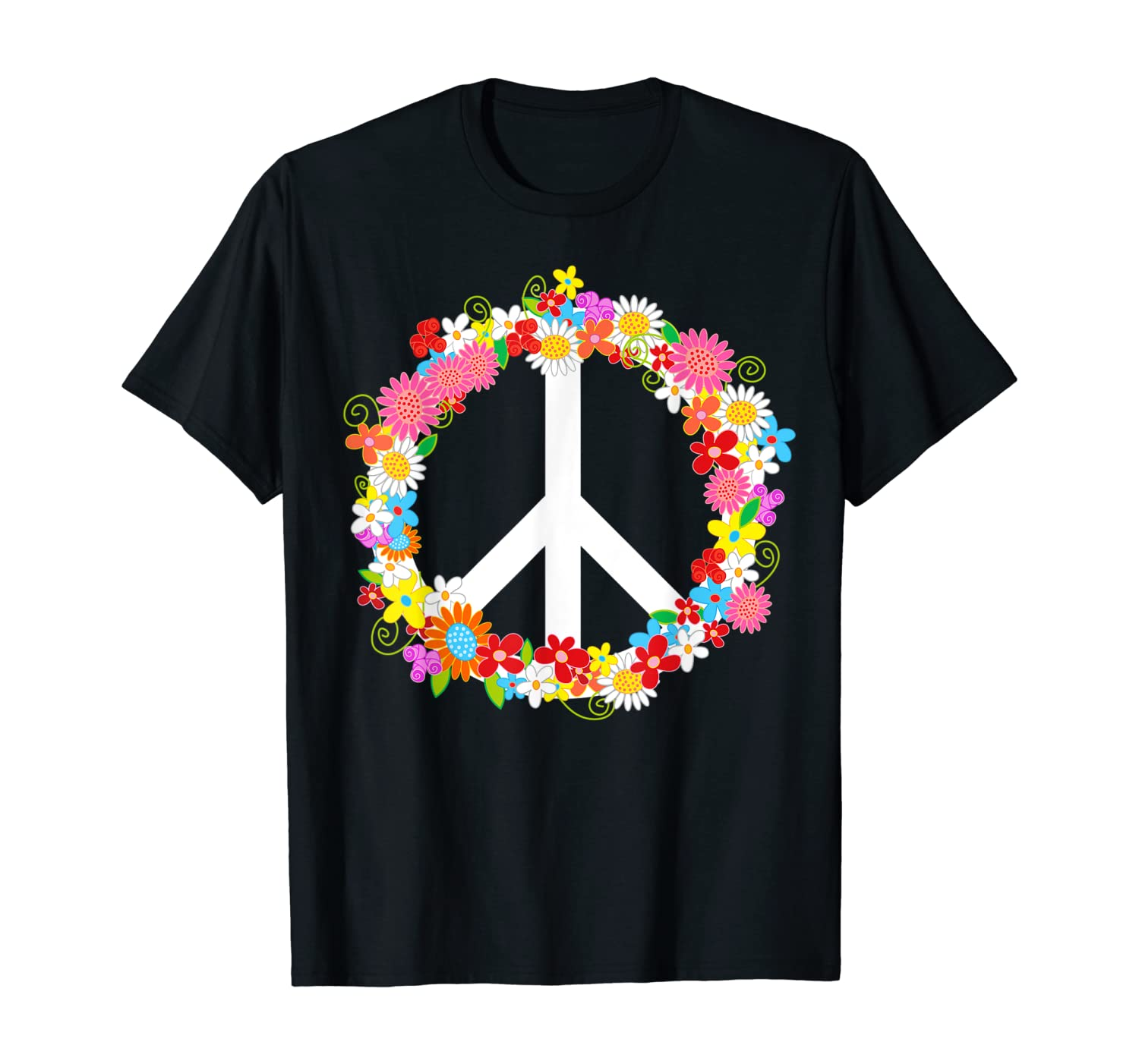 Retro Peace Sign with Colorful Flowers Hippie 60's 70's Love T-Shirt