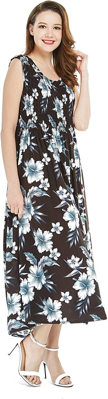 Womens Hawaiian Maxi Tank Elastic Luau Dress in Bloom