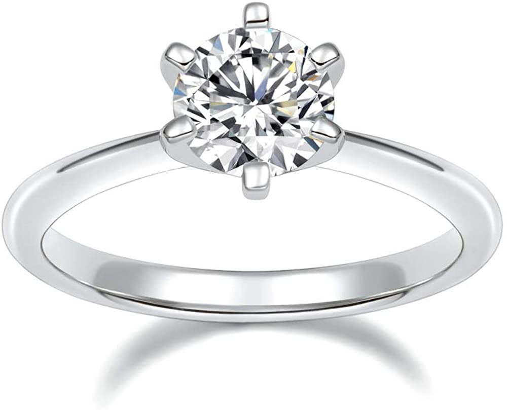 SOMEN TUNGSTEN 925 Sterling Silver 1 Carat Solitaire Round CZ Engagement Wedding Band Classic Six Prong Ring Size 4-12