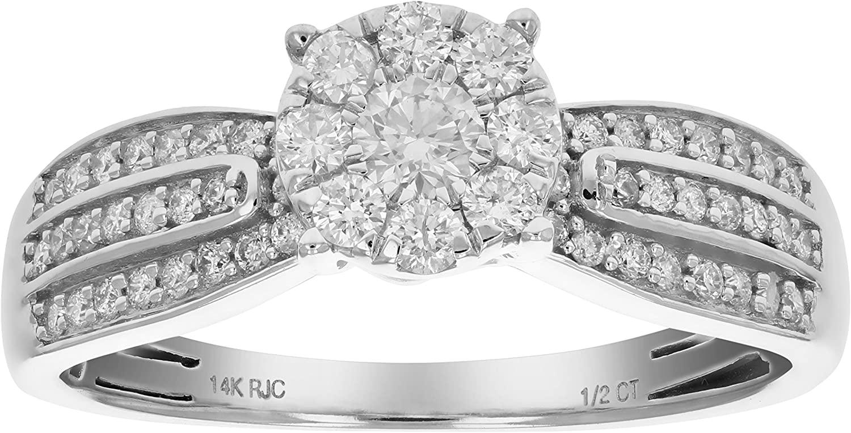 1/2 cttw Diamond Engagement Ring 14K White Gold Cluster Composite Wedding Bridal