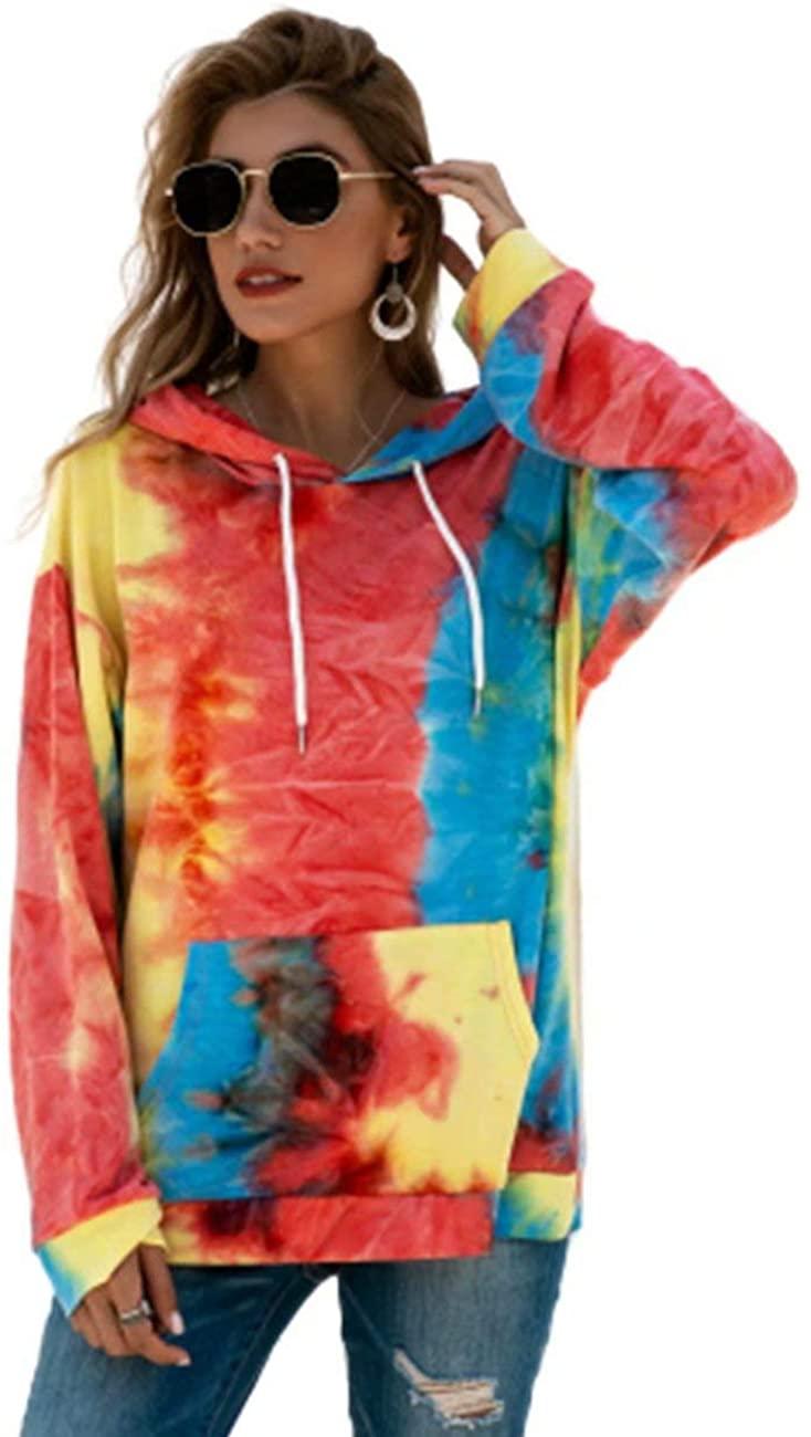 YAXIYA Women's Tie Dye Hoodie Pullover Sweatshirt Long Sleeve Shirts Tops