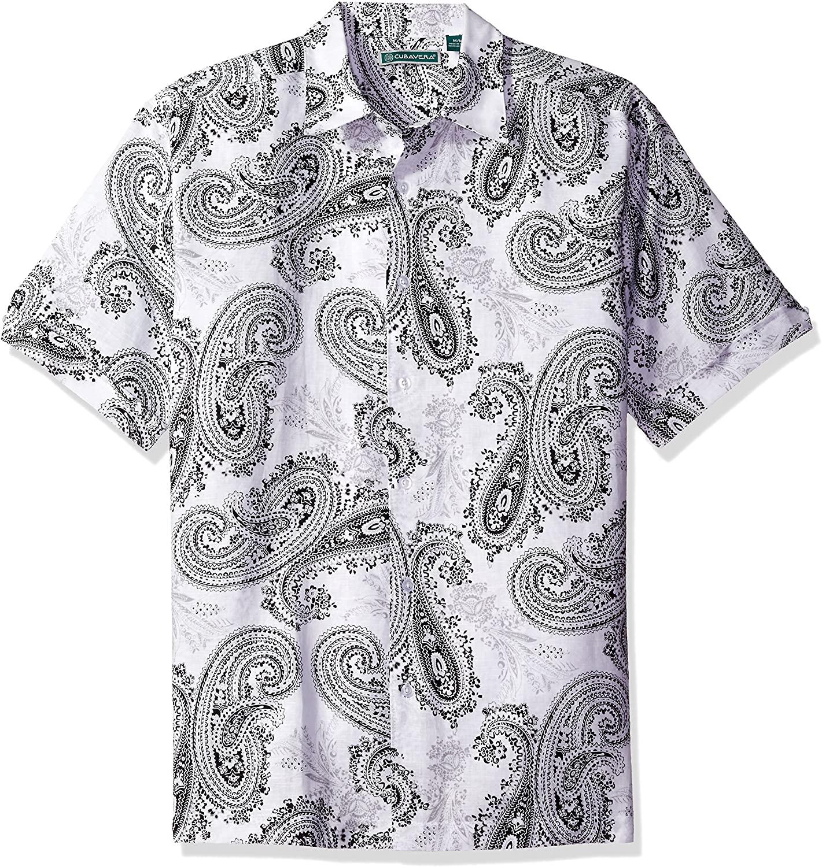 Cubavera Men's Short Sleeve All Over Paisley Print Woven Shirt