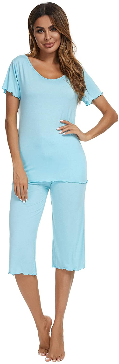 TIKTIK Womens Sleepwear Modal Top with Capri Pants Pajama Sets S-4XL