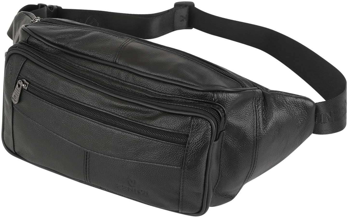 ZZNICK Genuine Leather Fanny Pack/Waist Bag/Organizer with Adjustable Belt, Multiple Pockets for Men
