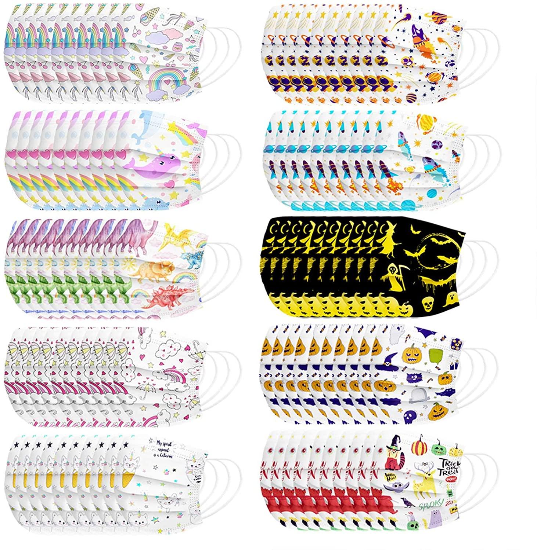 Kids Disposable 100Pcs Face Bandanas,3 Ply Non-Woven,10 Style Combo
