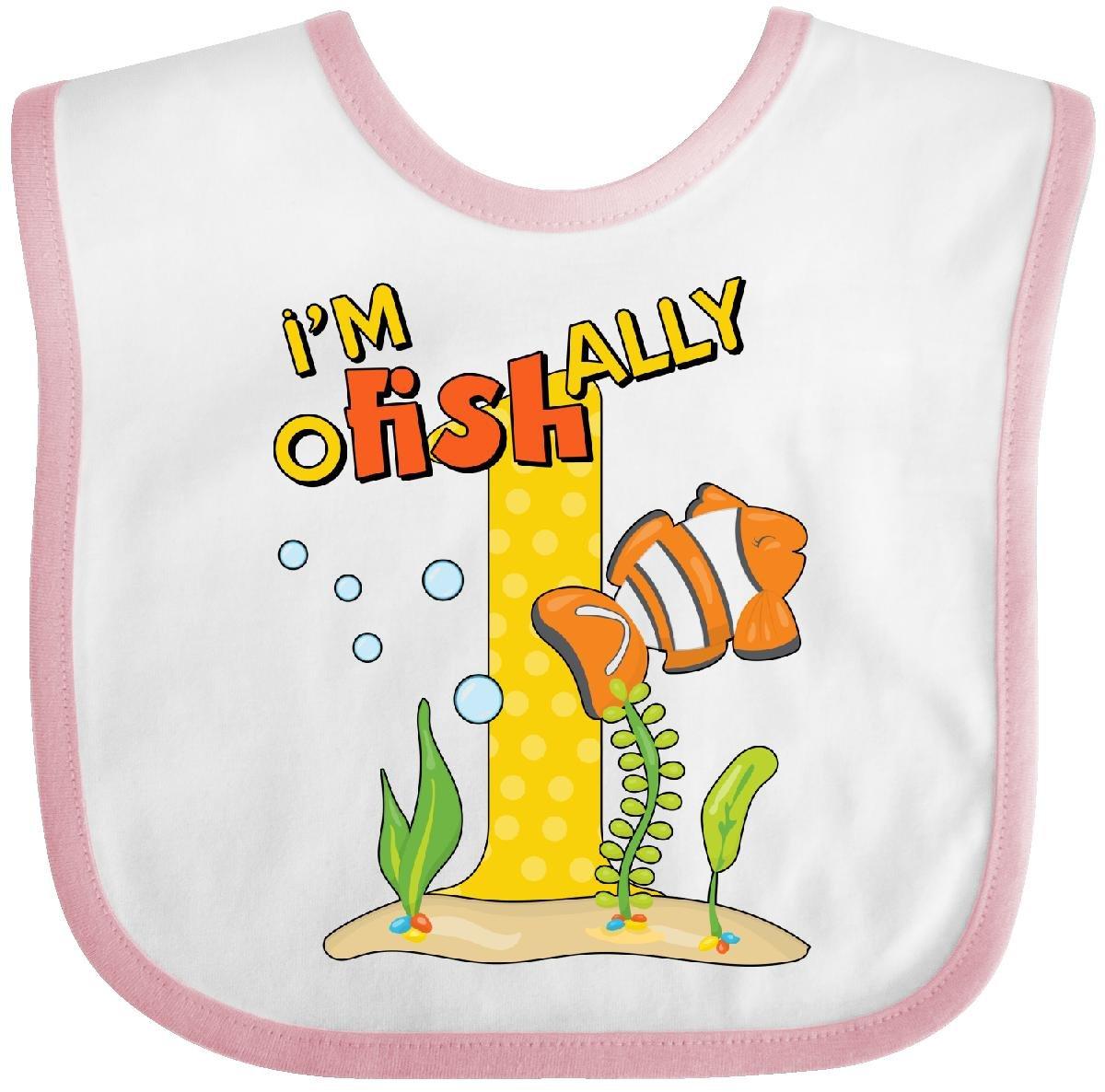 Inktastic I'm O-Fish-Ally 1 Cute Clownfish First Baby Bib White/Pink 28f9a