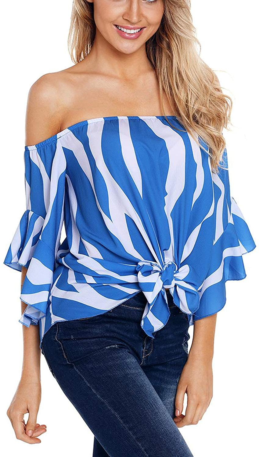 SWEET POISON Womens Striped Off Shoulder Tops Bell Sleeve Loose wrap Tunic Shirt