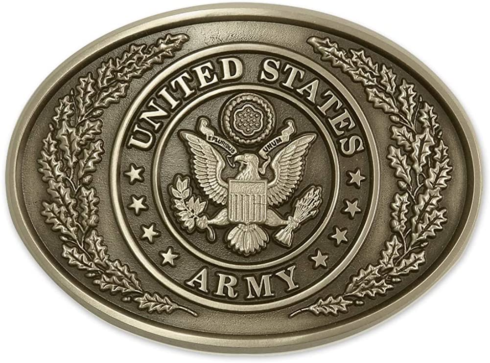 Indiana Metal Craft US ARMY Traditional Design Solid Brass Belt Buckle MADE IN USA