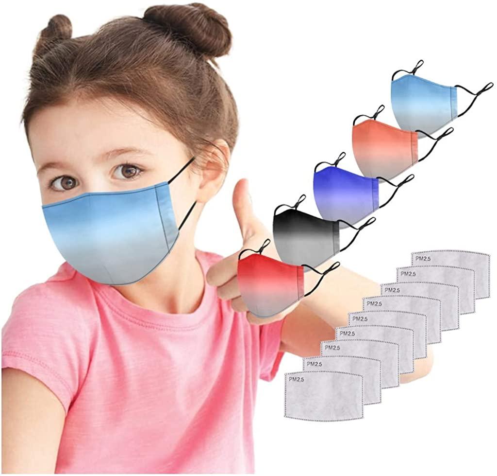 5Pcs Kids Cotton Face_Masks,Washable Reusable Gradient Color Dustproof Face Bandanas, Adjustable Earloop and 10PC Filters