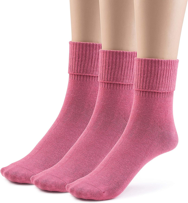 Silky Toes 3 or 6 Pk Women's Turn Cuff Bamboo Casual Socks Triple Roll Dress Crew Socks