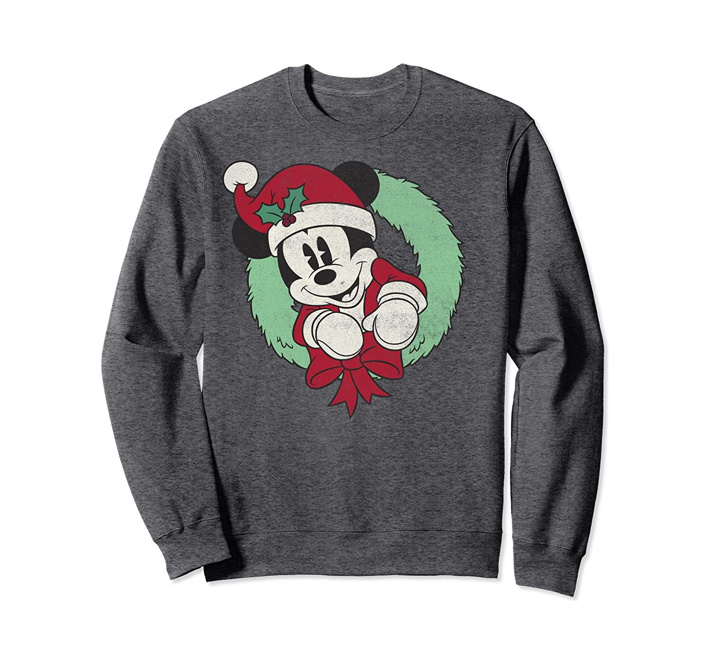 Disney Mickey Mouse Christmas Wreath Santa Hat Portrait Sweatshirt