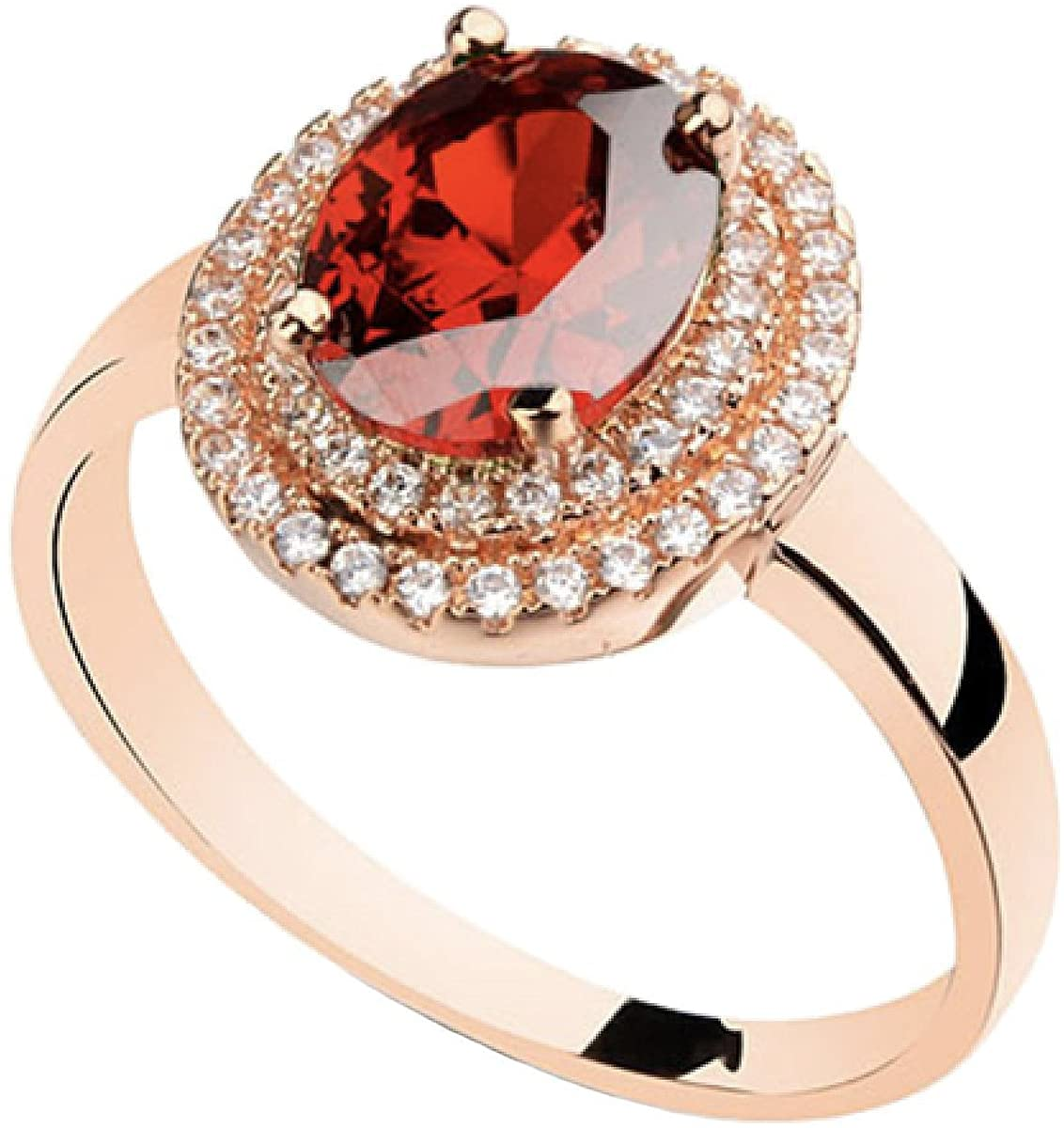 Rose Gold Plated Oval Shaped Gem Style Ring with Ruby Red Swarovski element Crystal and Clear Round Shaped Cubic Zirconia Fashion Jewelry for Women