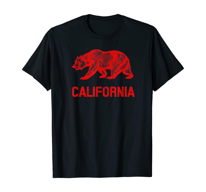 California Republic Flag Distressed Bear T-Shirt